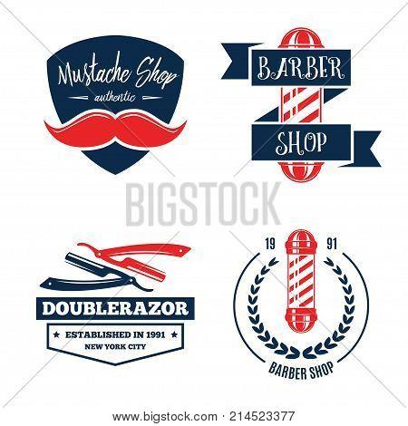 Barbershop logo vintage isolated set vector illustration. Hairdresser and gentleman symbols. Beard badge. Barbershop label collection.