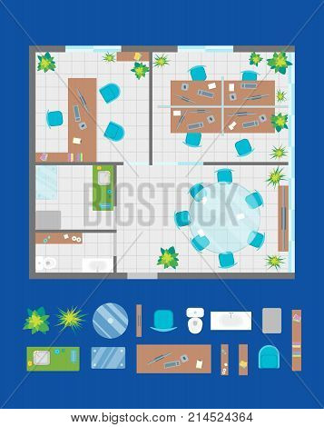 Architecture Office Plan with Furniture and Part Top View Basic Project Interior Organization Workspace. Vector illustration