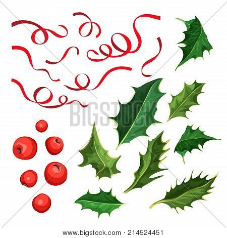 vector realistic hand drawn holly, ilex branch with berry and leaves, mistletoe and silk elegant ribbons. Christmas, new year holiday celebration symbol. Isolated illustration on a white background.
