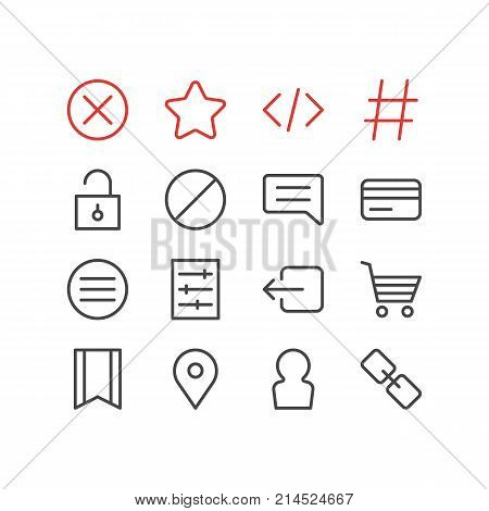 Vector Illustration Of 16 App Outline Icons. Editable Set Of Url, List, Padlock And Other Elements.