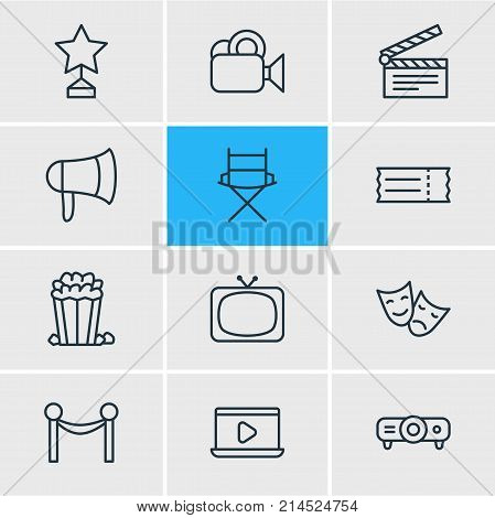 Vector Illustration Of 12 Movie Outline Icons. Editable Set Of Slideshow, Shooting Seat, Monitor And Other Elements.
