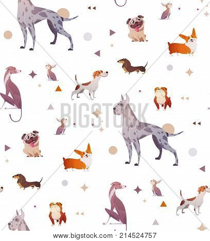 Pattern of a simple patten with dogs. Bright dogs.