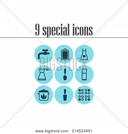 Vector Illustration Of 9 Restaurant Icons. Editable Set Of Stewpot, Spatula, Smock And Other Elements.