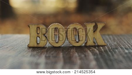 Book word letters. Book wood letters on table. Book wood letters close up. Photo stock.