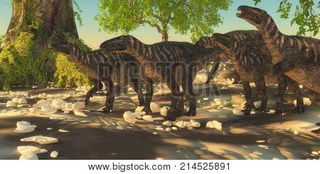 Iguanodon Dinosaurs 3d illustration - Iguanodon herbivorous dinosaurs lived during the Cretaceous Period of Europe and walked with a herd of animals.