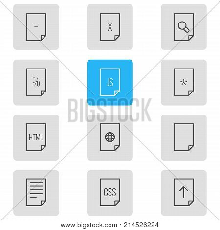 Vector Illustration Of 12 File Outline Icons. Editable Set Of Munus, Internet, Search And Other Elements.
