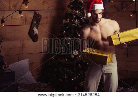 New Year Guy At Christmas Tree And Garland.