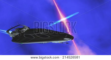 Stinger Star-ship 3d illustration - A starcraft carries its passengers across the cosmos and encounters a black hole radiating plasma.