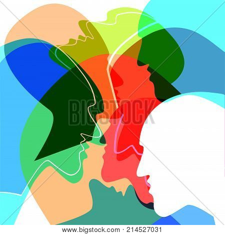 Heads People Concept Symbol Of Communication Between People. Vector Ilustration.