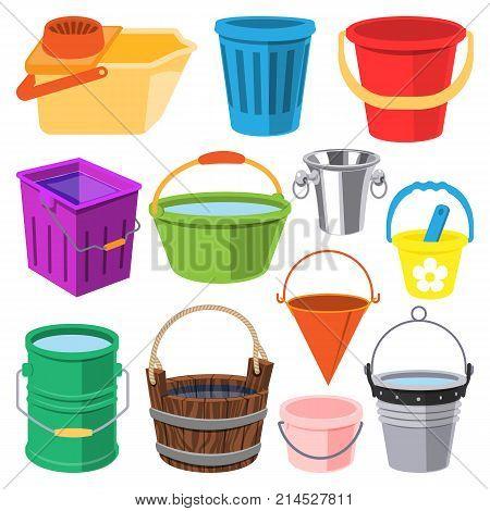 Bucket vector water full wood and metal, plastic bucketful illustration trash bin, pot isolated on white background.