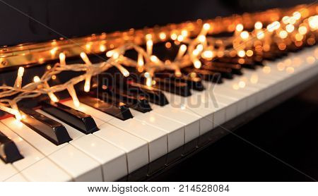 Christmas Lights On A Piano Keyboard