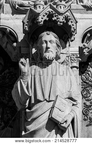 Architectural details of the catholic cathedral Notre-Dame de Paris. Built in French Gothic architecture Notre-Dame's facade showing details of the Portal of the Last Judgment. Paris France