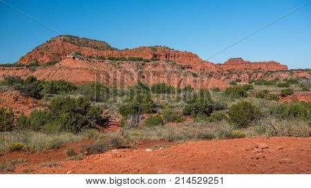 Beautiful scenic view of red rocks and desert vegetation in Palo Duro Canyon park in the Texas panhandle on a bright sunny day under a vivd blue sky.