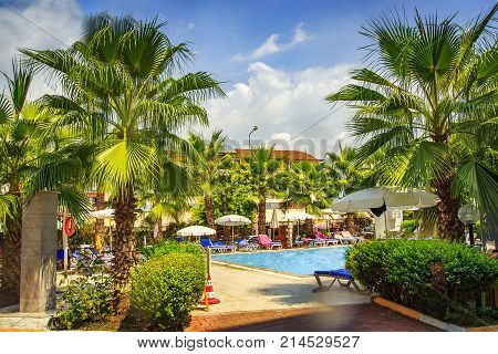 Green palm trees and swim pool on territory tropical resorts. Paradise summer vacation on resort hotel. Summer sunny day on relax holidays.