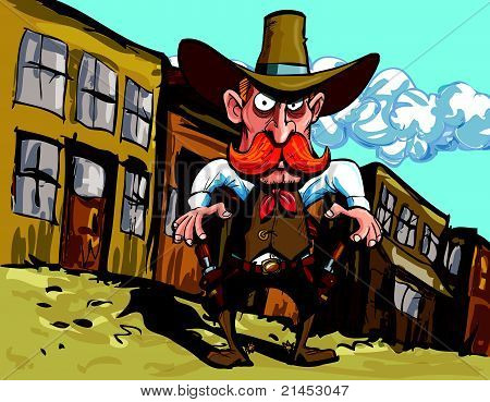 Cartoon cowboy sheriff in a dusty town street