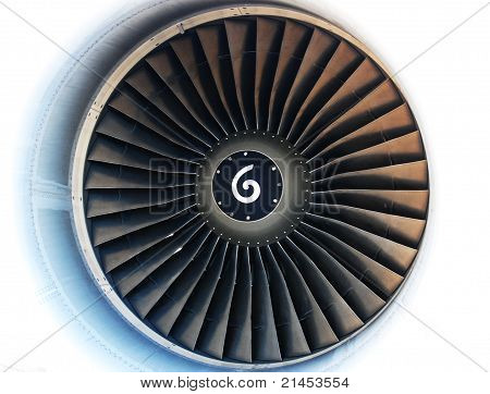 Turbine On White Background With Spin Direction Symbol