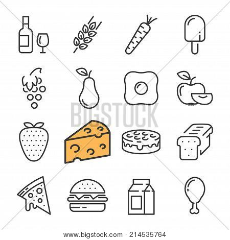 Black line food icons set. Includes such Icons as barrel Wine, Cheese, Wheat, Strawberry, Pizza. Pictogram