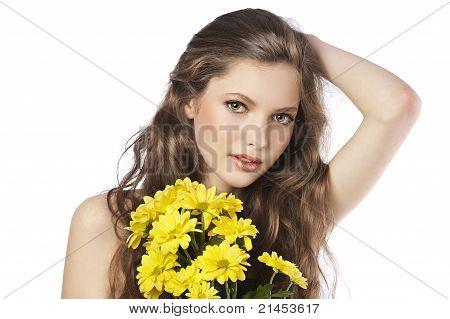Fresh Girl With Yellow Flower