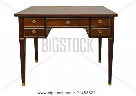 Antique hard wood writing desk with brass inlay, isolated on white background