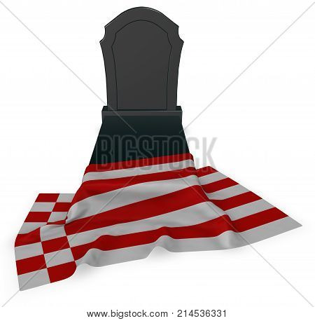 gravestone and flag of bremen - 3d rendering