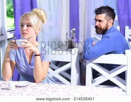 Woman Has Hot Beverage. Lady Holds Cup Of Coffee