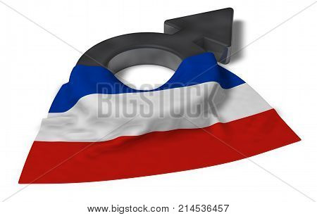 male symbol and flag of schleswig-holstein - 3d rendering