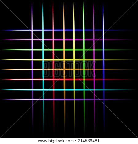 Laser beam neon crossing lines colorful lights vector black background.