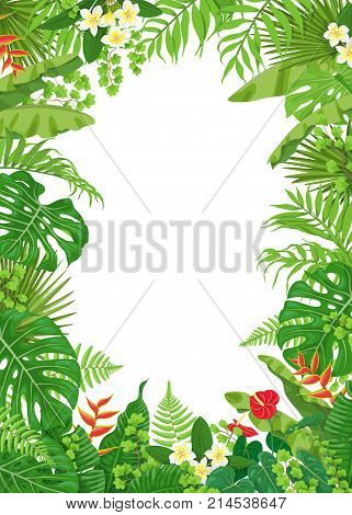 Colorful leaves and flowers of tropical plants background. Vertical floral frame with space for text. Tropic rainforest foliage border. Vector flat illustration.