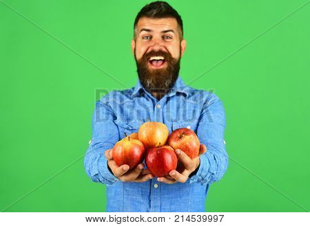 Man With Beard Holds Red Fruit Isolated On Green Background