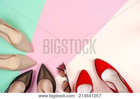 Fashion, Female Different Shoes On High Heels