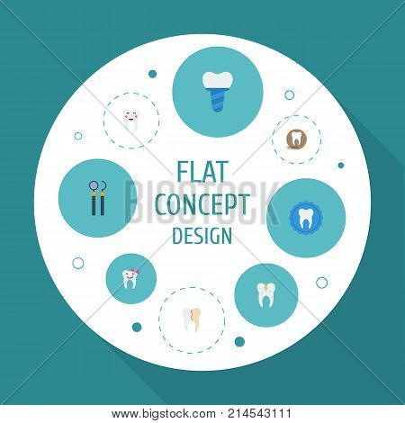 Flat Icons Tooth Seal, Enamel, Treatment And Other Vector Elements