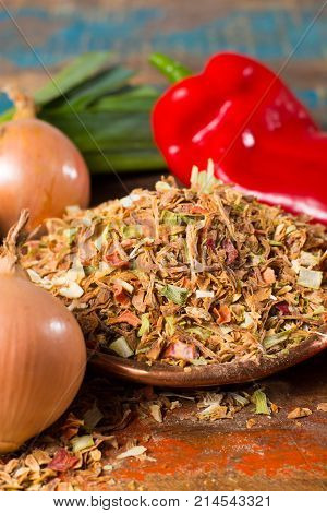 Dry Vegetable Mix For Preparation Of Traditional Indonesian Rice Dish Nasi Goreng