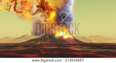 Volcano Eruption 3d illustration - A volcano erupts with a burst of smoke fire and ash as the landscape becomes rivers of molten lava.