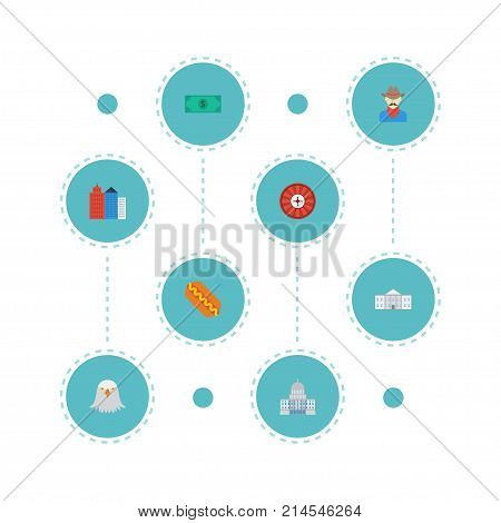 Flat Icons Government, Greenback, Roulette And Other Vector Elements