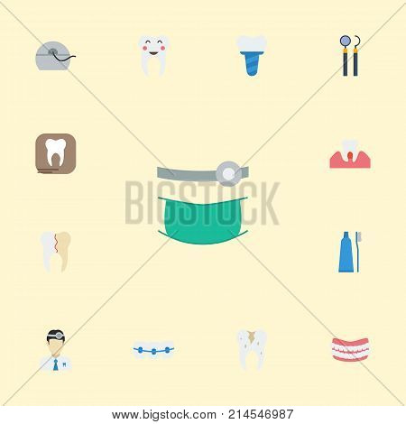 Flat Icons Halitosis, Dentition, Radiology And Other Vector Elements