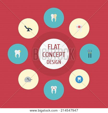 Flat Icons Halitosis, Cleaned, Tooth Seal And Other Vector Elements