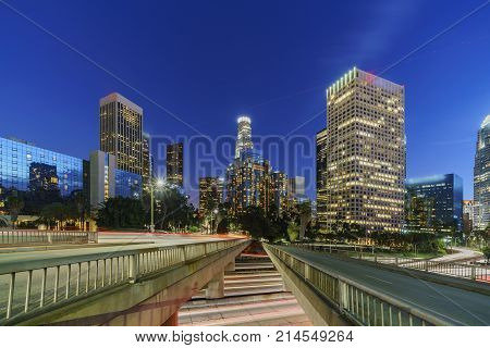 Classical Nightscape Of Los Angeles Downtown