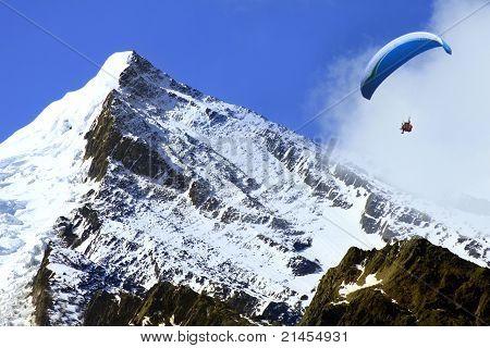 man paragliding