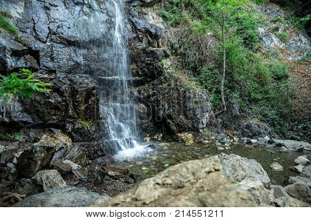 Caledonia waterfall pool in the mountains near Platres central Cyprus