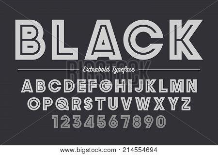 Extra Bold vector decorative bold font design, alphabet, typeface, typography