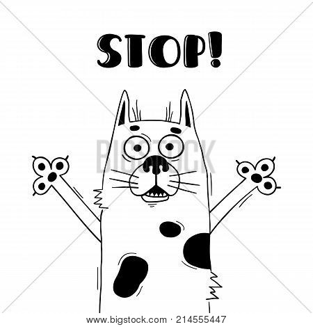 Illustration with funny hound who shouts - Stop. For design of warning beware of dog. Cute animal in vector.