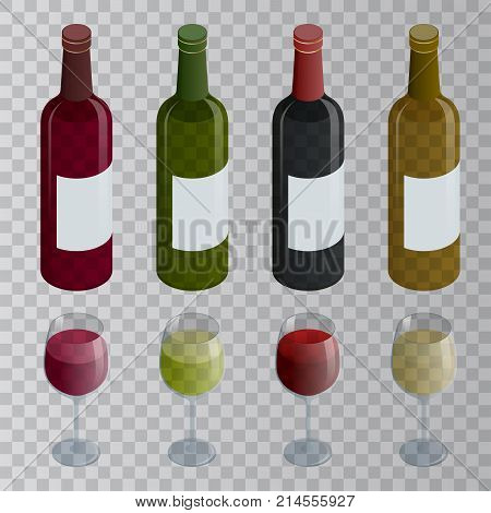 Isometric set of white, rose, and red wine bottles and glas. Vector illustration isolated on transparent background.