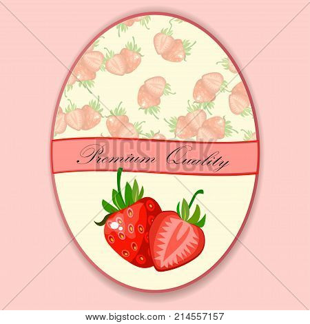 Vector round label, strawberry jam, sauce or juice label. shop and farm market design. strawberry jam, sauce or juice label