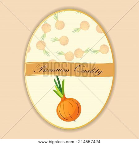 Abstract vector illustration logo for whole and slice ripe vegetable round onion, . Onion pattern on label vegetables ripe sweet food. Organic collection