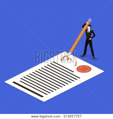 Isometric 3D Concept Vector Illustration The Concept Of Signing A Contract With A Pencil. The Direct