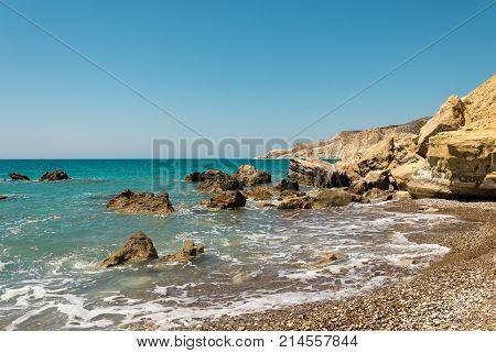 Pissouri Bay Rocky Landscape Near A Pebble Beach, Cyprus