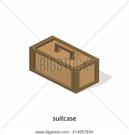 Isometric 3D Vector Illustration Wooden Box With Tools. Suitcase For Accessories