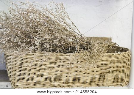 Ornamental basket of dried flower stock photo