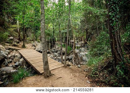 A Wooden Bridge Over A Small River On A Way To Caledonia Waterfall Near Platres, Cyprus