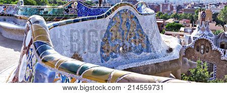 Colorful Ceramic Bench At Parc Guell Designed By Antoni Gaudi, Barcelona, Spain.
